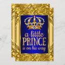 Boy Baby Shower Royal Prince Blue Gold Invitation