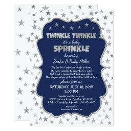 Boy Baby Sprinkle Invitationss, Navy Silver Stars Invitations