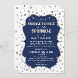 Boy , Navy Silver Stars Invitation