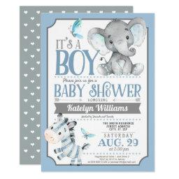 Boy Elephant And Zebra Baby Shower