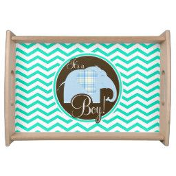 Boy Elephant; Aqua Green Chevron Serving Tray