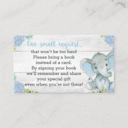 Boy Elephant Baby Shower Book Request