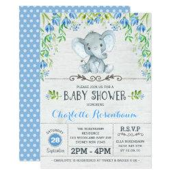 Boy Elephant Baby Shower Invitations Blue Floral