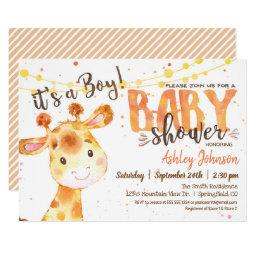 Boy Giraffe Baby Shower Invitation