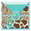 Boy Monkey Jungle Safari Baby Shower Invitation