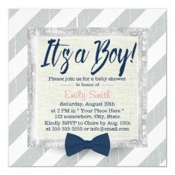 Boy Navy Blue Bow Tie Grey Stripes Baby Shower
