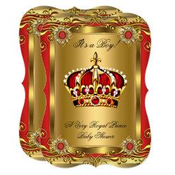 Boy or Girl Royal Baby Shower Regal Red Gold