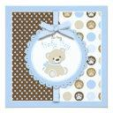 Boy Teddy Bear Baby Shower  Square