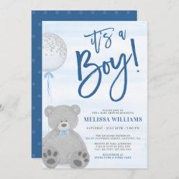 Boy Teddy Bear Blue Gray Balloon Baby Shower Invitation
