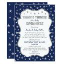Boy Twinkle Baby Sprinkle, Navy Silver Invitations