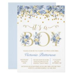 Boy Watercolor Its A Boy Blue Gold Baby Shower Invitation