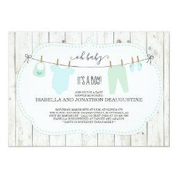 Boy's Baby Shower Invitation | Rustic Clothesline