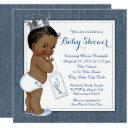 Boys Blue Denim African American Baby Shower Invitation