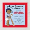 Boys Ethnic Baseball Baby Shower Invitation
