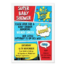 Boys Superhero Baby Shower Invitation