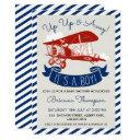 Boy's Vintage Plane Baby Shower Invitations