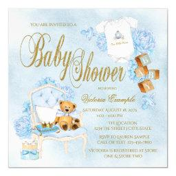 Boys Watercolor Blue Gold Baby Shower
