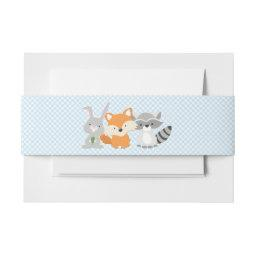 Boys Woodland Animal Baby Shower Invitations Belly Band