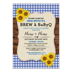 Brew And Babyq Baby Shower Blue Sunflower Invite