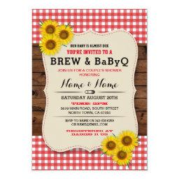 Brew And Babyq Baby Shower Red Sunflower Invite