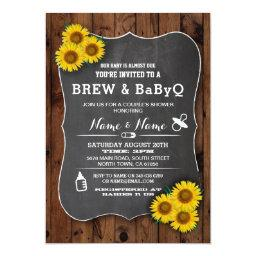 Brew And Babyq Baby Shower Wood Sunflower Invite