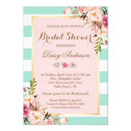 Baby Shower Floral Baby Pink Mint Green Stripes