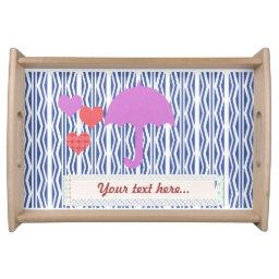 Bright Baby Shower Hearts Love Pink Umbrella Serving Tray