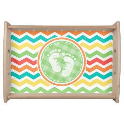 Bright Rainbow Chevron Baby Feet Baby Shower Serving Tray