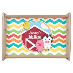 Bright Rainbow Chevron Farm Theme  Serving Tray