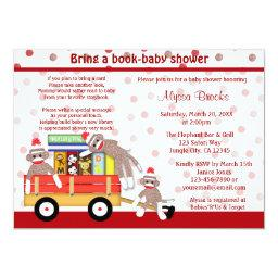 Bring a book baby shower  sock monkey