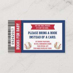 Bring A Book Card, Sports Ticket, Baby Shower Enclosure Card