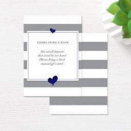 Bring a Book Navy Hearts Grey Striped Baby Shower