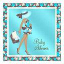 Brown And Teal Blue Baby Shower Invitationss