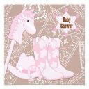 Brown Pink Cowgirl Baby Girl Shower Invitation