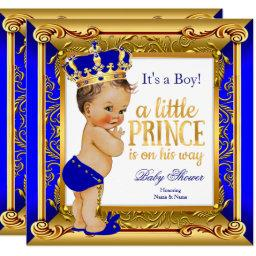 Brunette Prince Baby Shower Blue Faux Gold