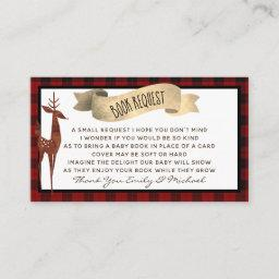 Buffalo Plaid Baby Shower Book Request Poem Enclosure Card