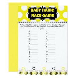 Bumble Bee Baby Name Race - Baby Shower Game