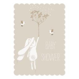 Bunny On The Breeze Gender Neutral Baby Shower Invitations