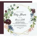 Burgundy Gold Geometric Baby Shower Invitation