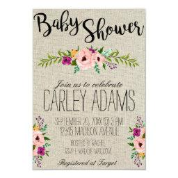 Burlap Adorned with Floral | Baby Shower Invite