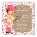 Burlap Cowgirl Baby Shower Floral Calico Invitation