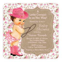 Burlap Cowgirl Baby Shower Floral Calico