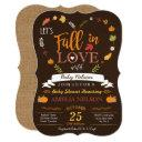 Burlap Fall In Love Pumpkin Baby Shower Invitations