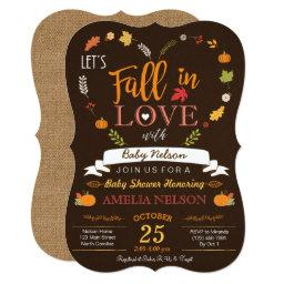 Burlap Fall In Love Pumpkin Baby Shower