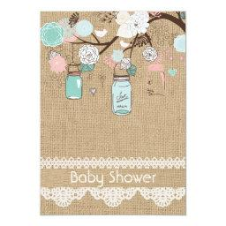 Burlap Rustic Lace Mason Jar Baby Shower Invitatio
