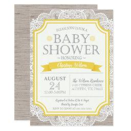 Burlap Yellow & Lace Baby Shower