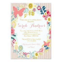 Butterfly Floral Pink Baby Shower Girl