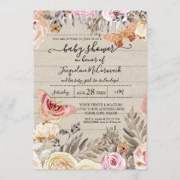 Butterfly Watercolor Blush Floral Rose Rustic Wood Invitation
