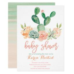 Cactus Baby Shower Invitation Succulent