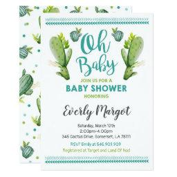 Cactus Baby Shower Invitation Succulent Shower